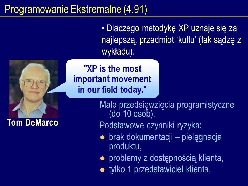 Programowanie Ekstremalne (4,91) Dlaczego metodykę XP uznaje się za najlepszą, przedmiot kultu (tak sądzę z wykładu). Małe przedsięwzięcia programisty