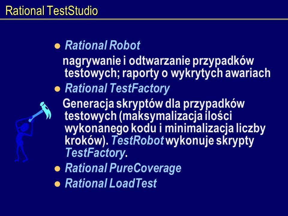 Rational TestStudio Rational Robot nagrywanie i odtwarzanie przypadków testowych; raporty o wykrytych awariach Rational TestFactory Generacja skryptów