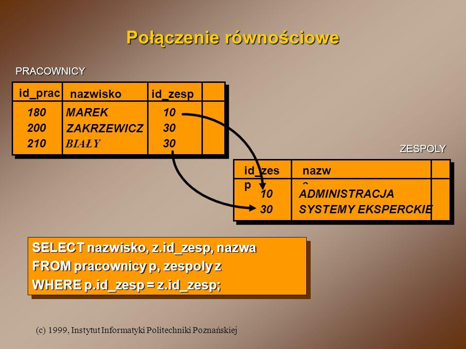 (c) 1999, Instytut Informatyki Politechniki Poznańskiej Połączenie równościowe nazwiskoid_zesp MAREK ZAKRZEWICZ id_prac 180 200 10 30 nazw a ADMINISTR