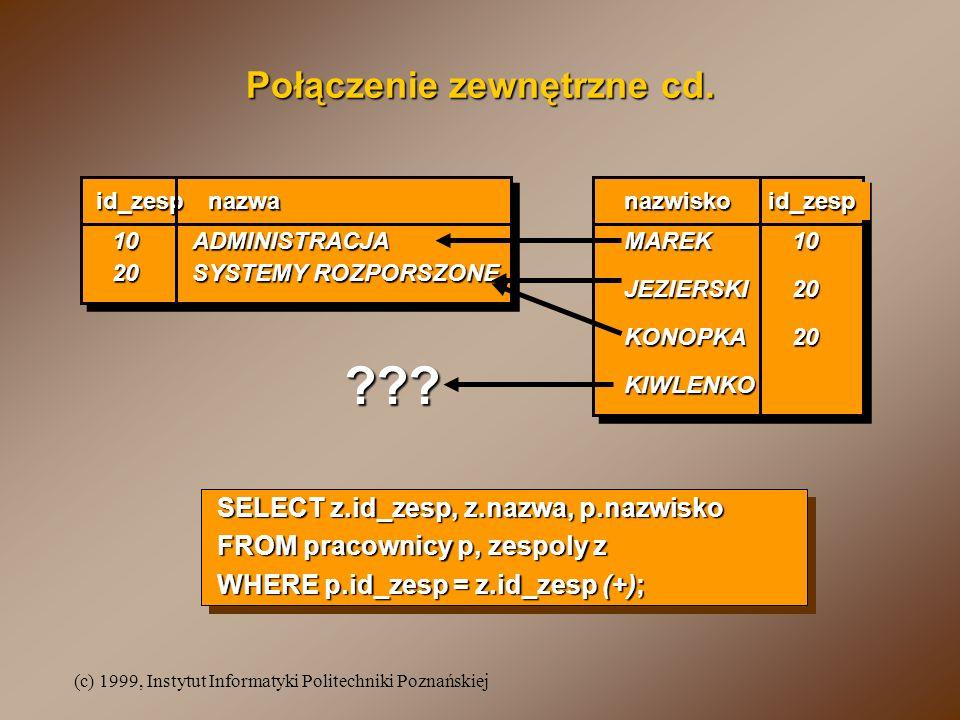 (c) 1999, Instytut Informatyki Politechniki Poznańskiej Połączenie zewnętrzne cd. id_zespnazwanazwiskoid_zesp 20 SYSTEMY ROZPORSZONE JEZIERSKI KONOPKA