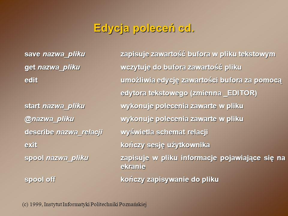 (c) 1999, Instytut Informatyki Politechniki Poznańskiej Edycja poleceń cd. save nazwa_plikuzapisuje zawartość bufora w pliku tekstowym get nazwa_pliku