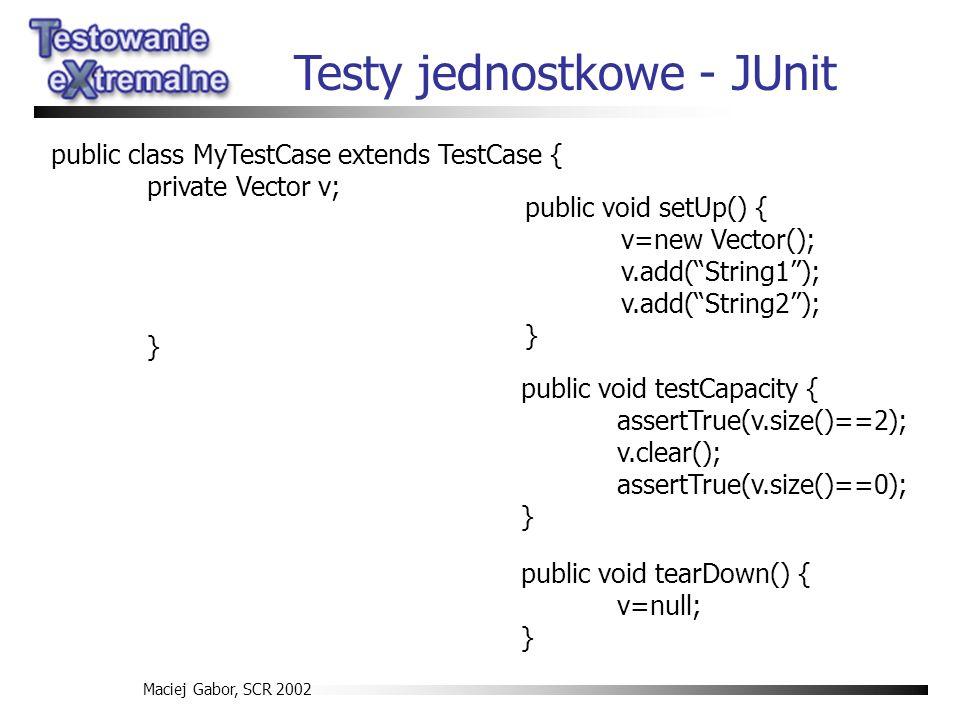 Maciej Gabor, SCR 2002 public void testCapacity { assertTrue(v.size()==2); v.clear(); assertTrue(v.size()==0); } public void setUp() { v=new Vector();