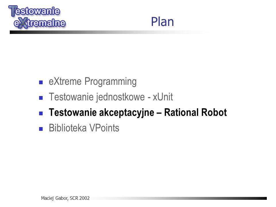 Maciej Gabor, SCR 2002 Plan eXtreme Programming Testowanie jednostkowe - xUnit Testowanie akceptacyjne – Rational Robot Biblioteka VPoints