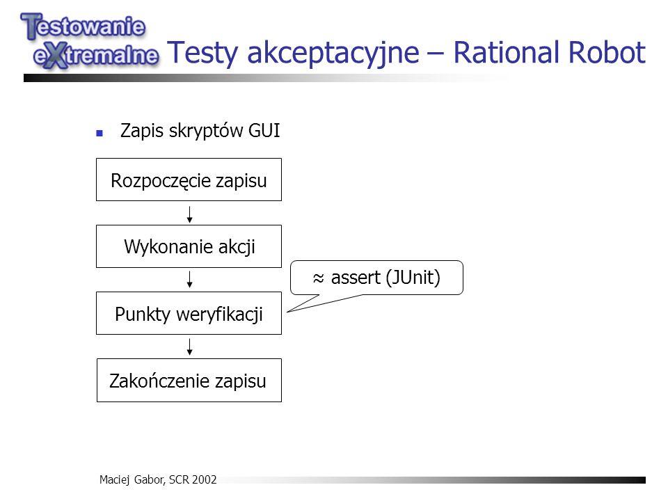 Maciej Gabor, SCR 2002 Testy akceptacyjne – Rational Robot Zapis skryptów GUI Rozpoczęcie zapisu Wykonanie akcji Punkty weryfikacji Zakończenie zapisu