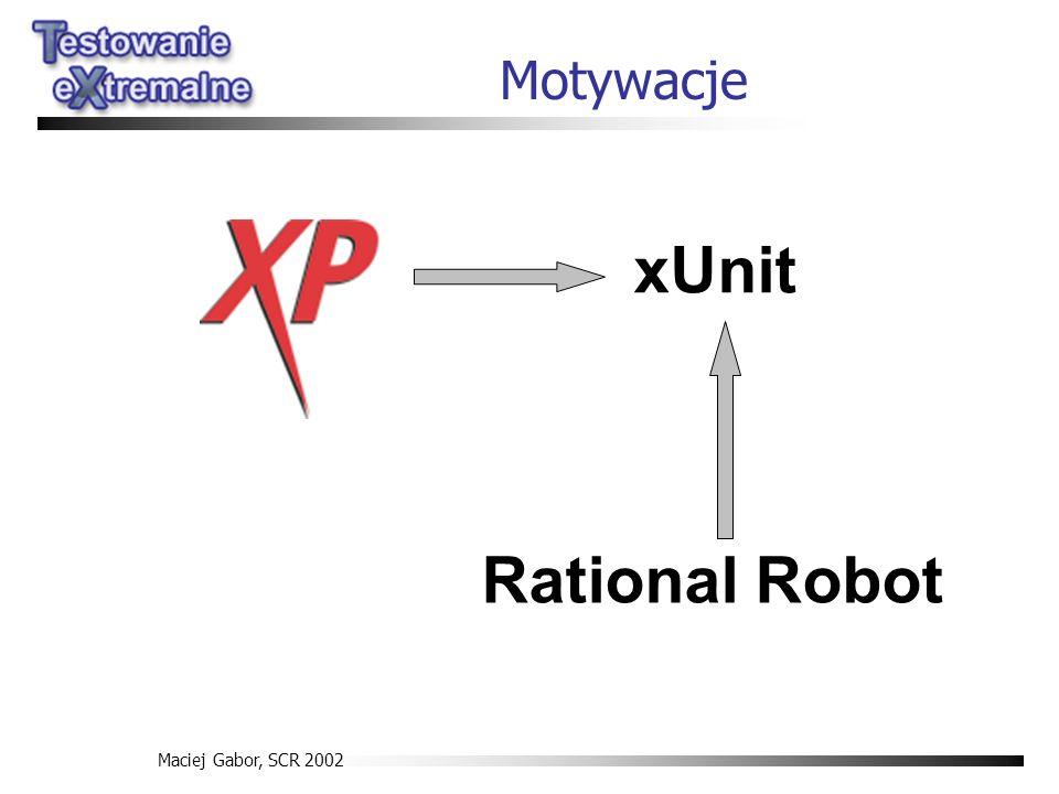 Maciej Gabor, SCR 2002 Motywacje xUnit Rational Robot
