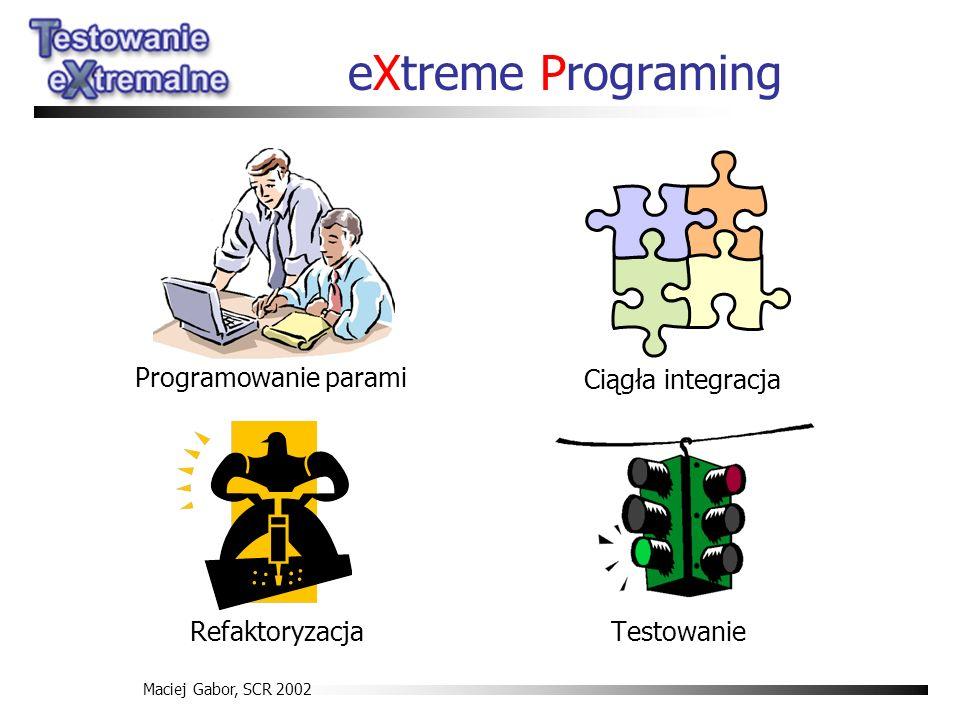Maciej Gabor, SCR 2002 eXtreme Programing Testowanie Programowanie parami Ciągła integracja Refaktoryzacja