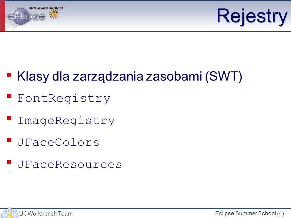 UCWorkbench Team Eclipse Summer School (4) Rejestry Klasy dla zarządzania zasobami (SWT) FontRegistry ImageRegistry JFaceColors JFaceResources