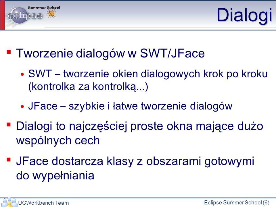 UCWorkbench Team Eclipse Summer School (6) Dialogi Tworzenie dialogów w SWT/JFace SWT – tworzenie okien dialogowych krok po kroku (kontrolka za kontrolką...) JFace – szybkie i łatwe tworzenie dialogów Dialogi to najczęściej proste okna mające dużo wspólnych cech JFace dostarcza klasy z obszarami gotowymi do wypełniania
