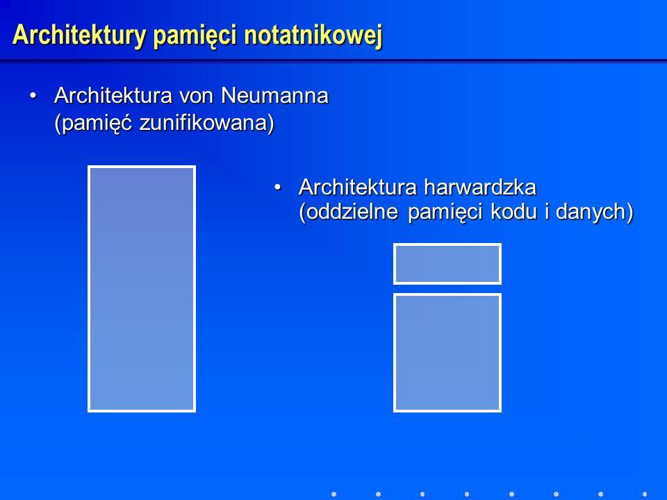 Architektura von Neumanna (pamięć zunifikowana)Architektura von Neumanna (pamięć zunifikowana) Architektura harwardzka (oddzielne pamięci kodu i danyc