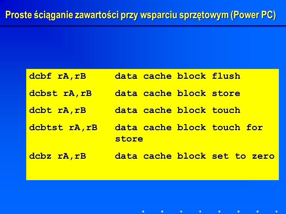 dcbf rA,rBdata cache block flush dcbst rA,rBdata cache block store dcbt rA,rBdata cache block touch dcbtst rA,rBdata cache block touch for store dcbz