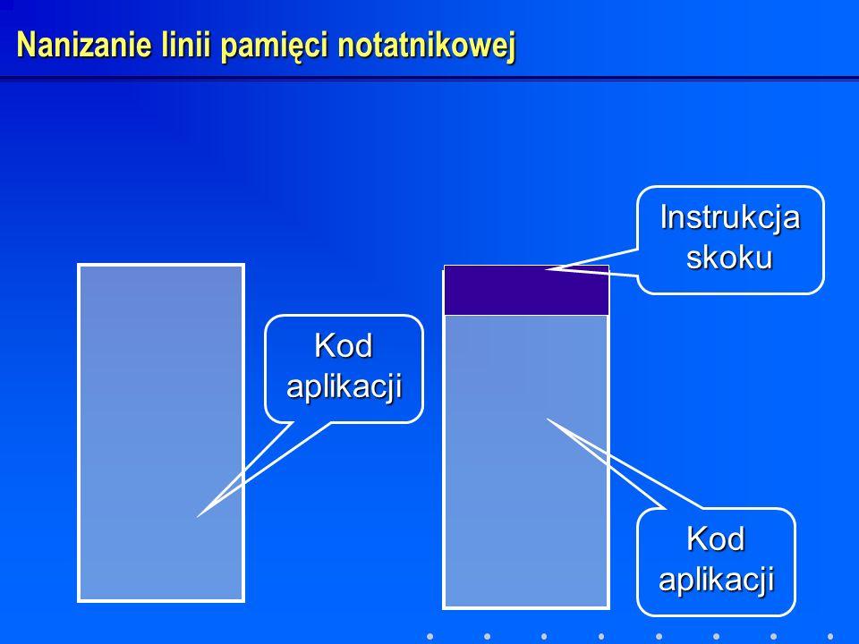 Kod aplikacji Instrukcja skoku Nanizanie linii pamięci notatnikowej