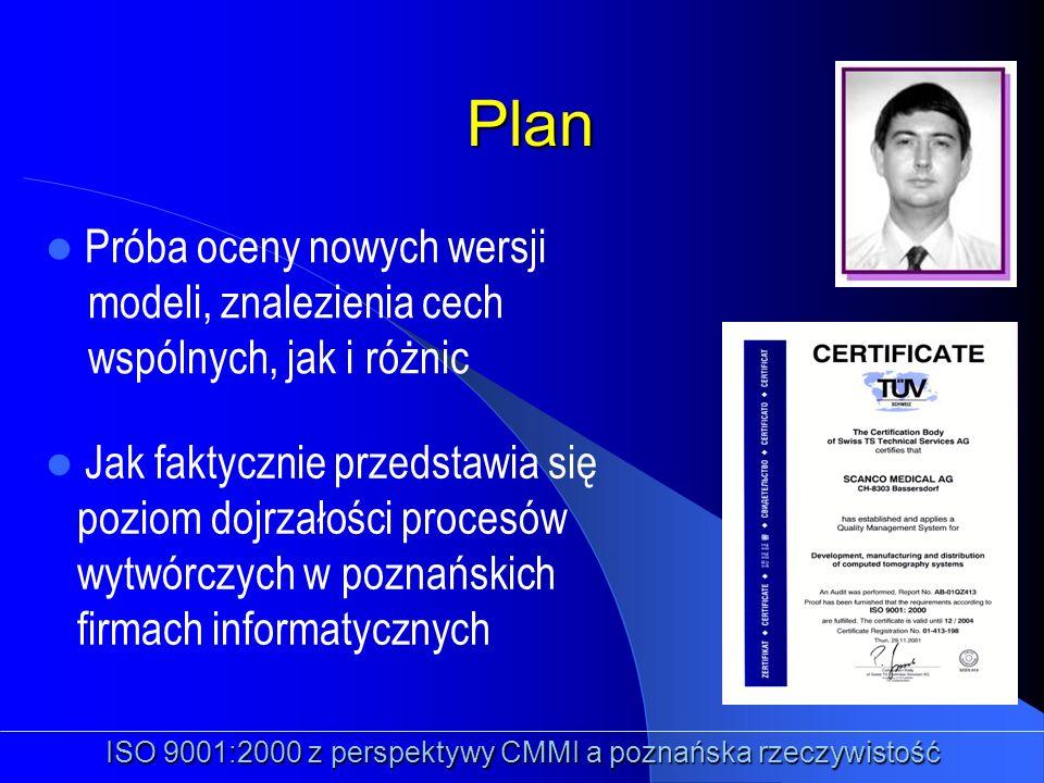 Plan Próba oceny nowych wersji modeli, znalezienia cech wspólnych, jak i różnic ISO 9001:2000 z perspektywy CMMI a poznańska rzeczywistość Jak faktycz