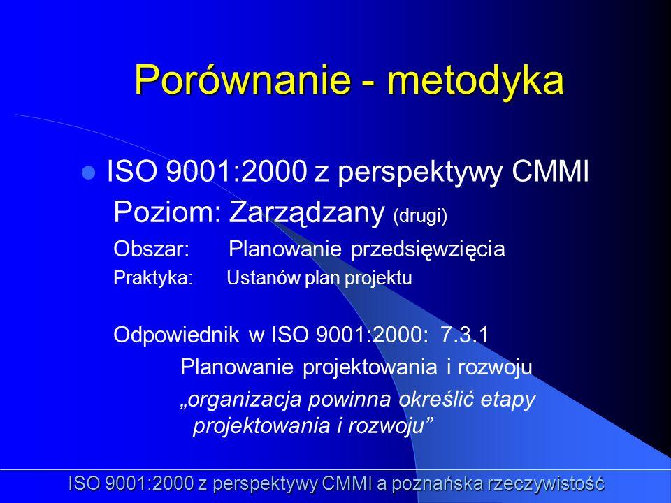Porównanie - metodyka ISO 9001:2000 z perspektywy CMMI ISO 9001:2000 z perspektywy CMMI a poznańska rzeczywistość Poziom: Zarządzany (drugi) Obszar: P