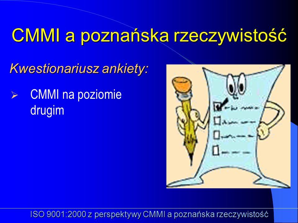 CMMI na poziomie drugim Kwestionariusz ankiety: Kwestionariusz ankiety: CMMI a poznańska rzeczywistość ISO 9001:2000 z perspektywy CMMI a poznańska rz