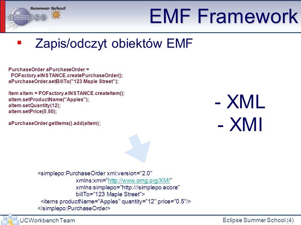 UCWorkbench Team Eclipse Summer School (4) EMF Framework Zapis/odczyt obiektów EMF PurchaseOrder aPurchaseOrder = POFactory.eINSTANCE.createPurchaseOrder(); aPurchaseOrder.setBillTo( 123 Maple Street ); Item aItem = POFactory.eINSTANCE.createItem(); aItem.setProductName( Apples ); aItem.setQuantity(12); aItem.setPrice(0.50); aPurchaseOrder.getItems().add(aItem); <simplepo:PurchaseOrder xmi:version= 2.0 xmlns:xmi= http://www.omg.org/XMI http://www.omg.org/XMI xmlns:simplepo= http:///simplepo.ecore billTo= 123 Maple Street > - XML - XMI