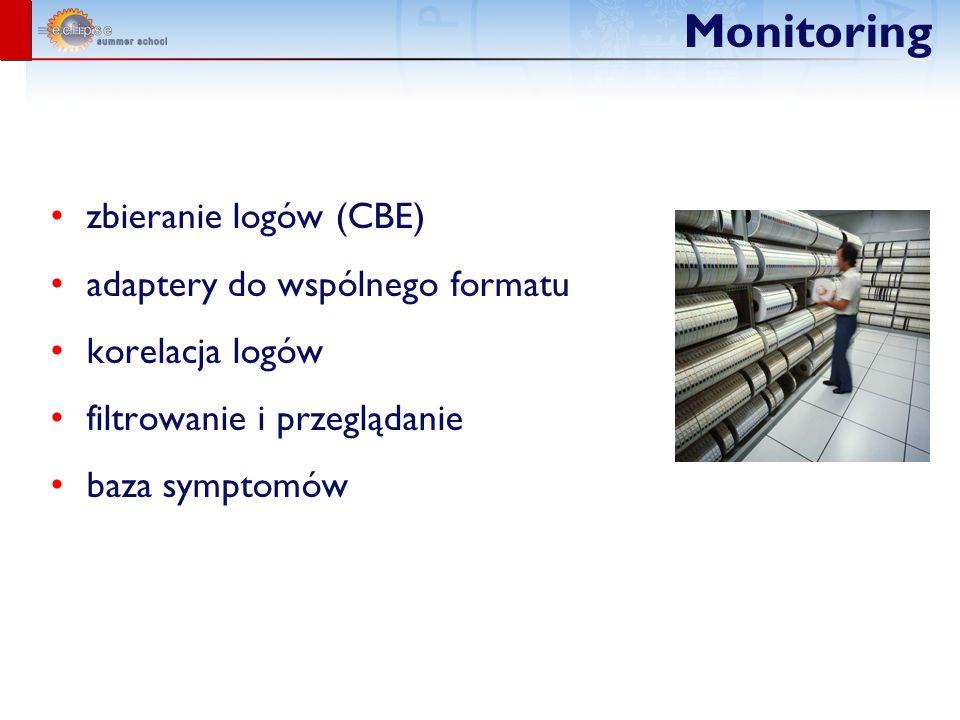 Monitoring zbieranie logów (CBE) adaptery do wspólnego formatu korelacja logów filtrowanie i przeglądanie baza symptomów