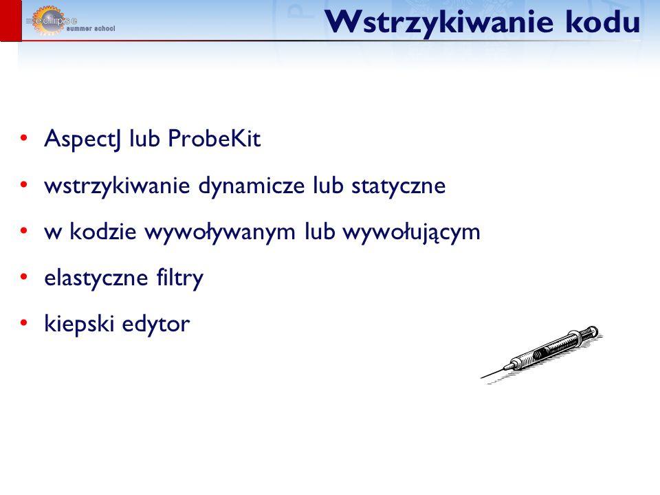 Wstrzykiwanie kodu AspectJ lub ProbeKit wstrzykiwanie dynamicze lub statyczne w kodzie wywoływanym lub wywołującym elastyczne filtry kiepski edytor