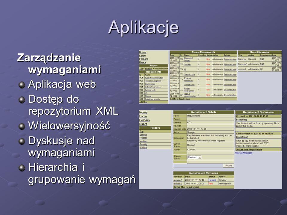 Aplikacje Zarządzanie wymaganiami Aplikacja web Dostęp do repozytorium XML Wielowersyjność Dyskusje nad wymaganiami Hierarchia i grupowanie wymagań