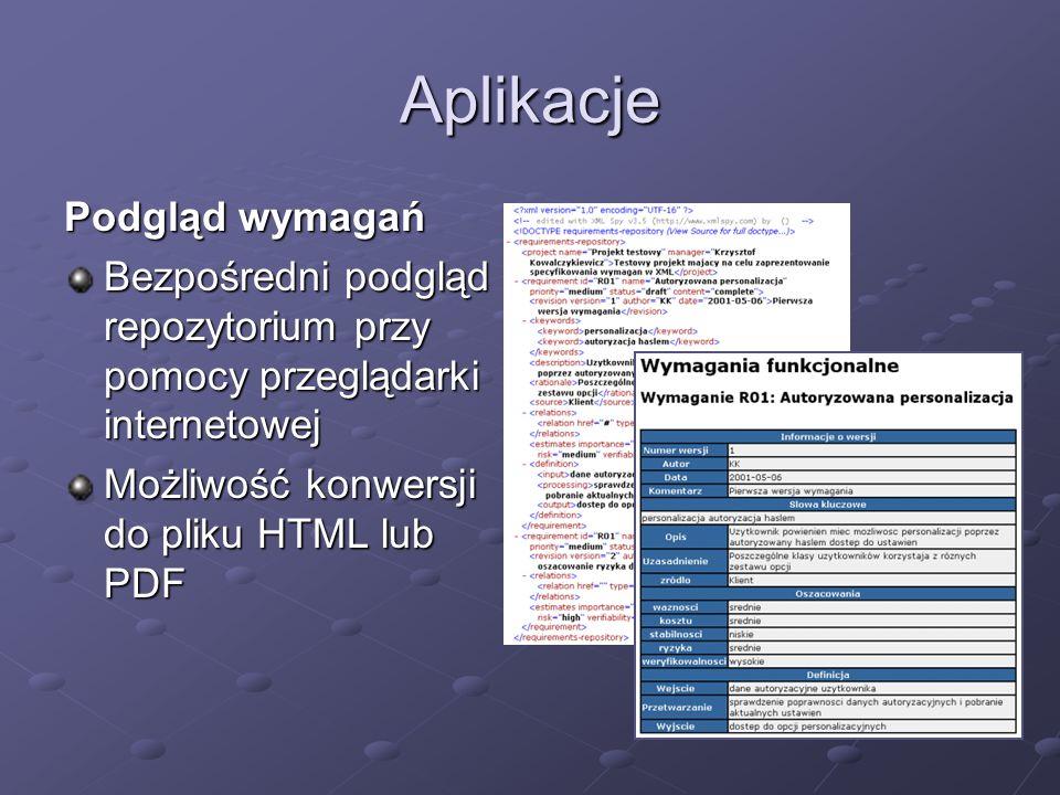 Aplikacje Podgląd wymagań Bezpośredni podgląd repozytorium przy pomocy przeglądarki internetowej Możliwość konwersji do pliku HTML lub PDF