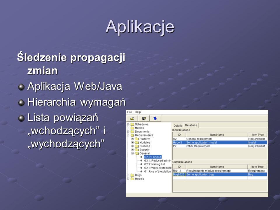 Aplikacje Śledzenie propagacji zmian Aplikacja Web/Java Hierarchia wymagań Lista powiązań wchodzących i wychodzących