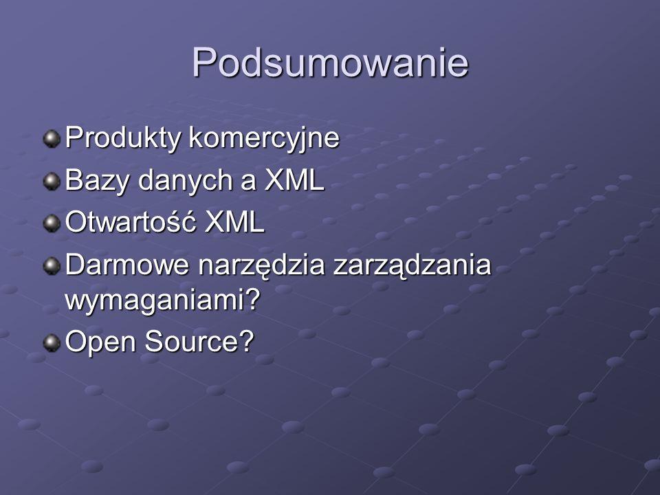 Podsumowanie Produkty komercyjne Bazy danych a XML Otwartość XML Darmowe narzędzia zarządzania wymaganiami? Open Source?