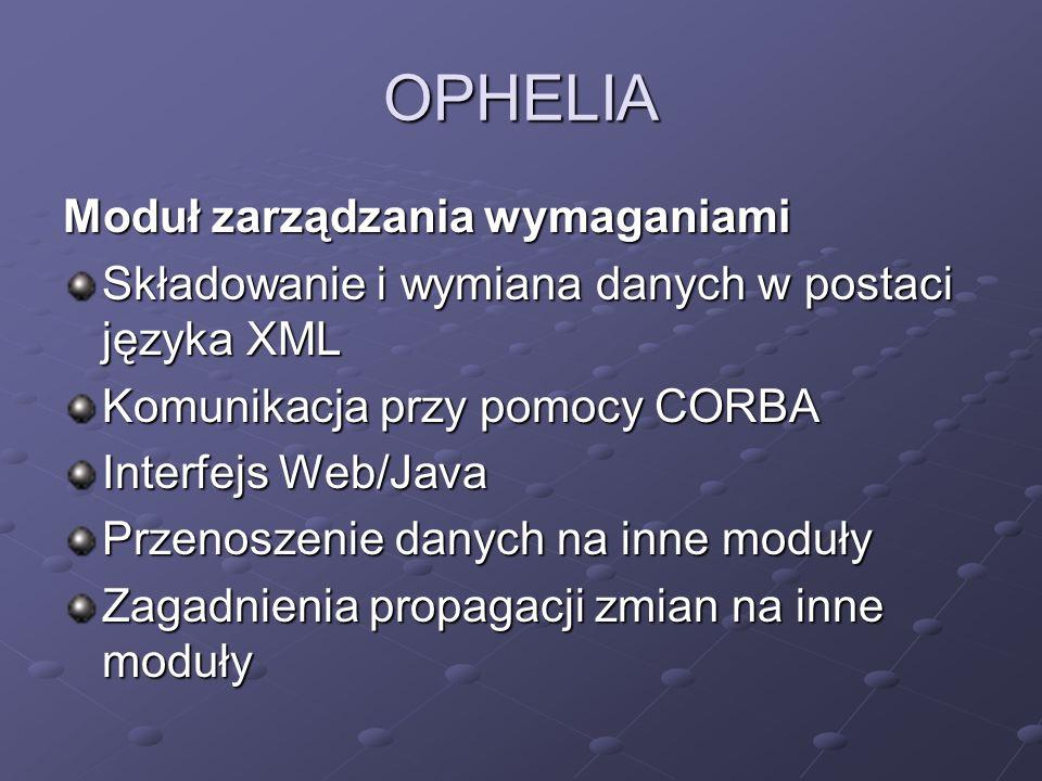 OPHELIA Moduł zarządzania wymaganiami Składowanie i wymiana danych w postaci języka XML Komunikacja przy pomocy CORBA Interfejs Web/Java Przenoszenie