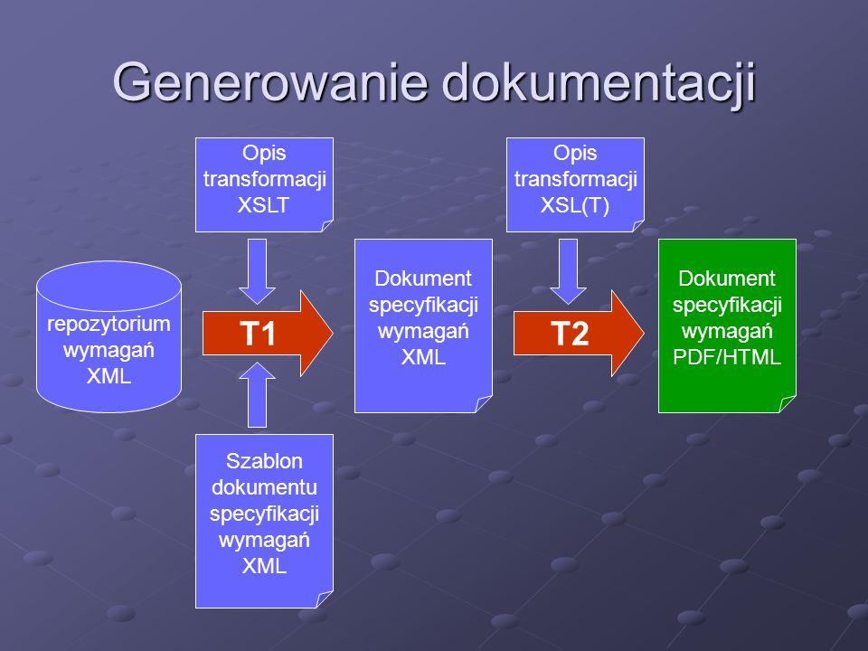 Powiązania i ich śledzenie Powiązania poziome (pomiędzy wymaganiami) Rodzaje powiązań (bazowe, macierzyste, podobne, wyprowadzone) Przechowywanie w definicji wymagania lub zewnętrzne w postaci łącz XLink Powiązania pionowe (wymagania – inne elementy) Zewnętrzne przechowywanie powiązań w postaci łącz XLink Łączenie na poziomie plików lub ich fragmentow dla XML