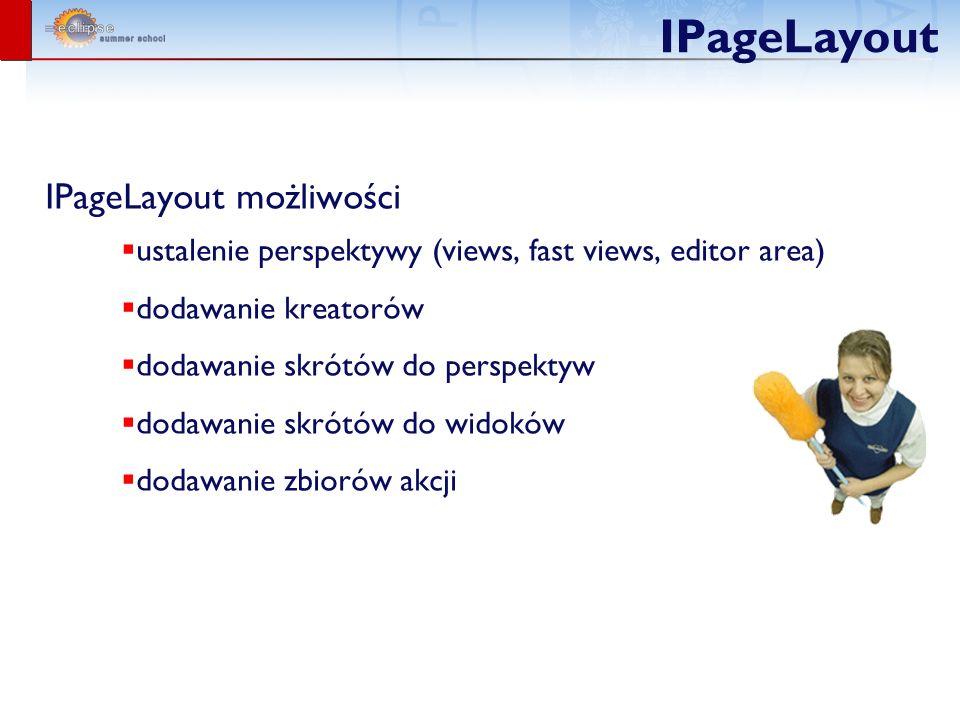 IPageLayout IPageLayout możliwości ustalenie perspektywy (views, fast views, editor area) dodawanie kreatorów dodawanie skrótów do perspektyw dodawanie skrótów do widoków dodawanie zbiorów akcji