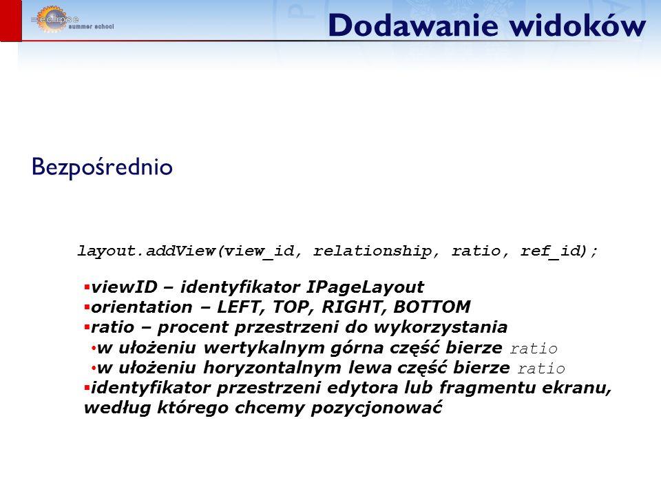Dodawanie widoków Bezpośrednio layout.addView(view_id, relationship, ratio, ref_id); viewID – identyfikator IPageLayout orientation – LEFT, TOP, RIGHT, BOTTOM ratio – procent przestrzeni do wykorzystania w ułożeniu wertykalnym górna część bierze ratio w ułożeniu horyzontalnym lewa część bierze ratio identyfikator przestrzeni edytora lub fragmentu ekranu, według którego chcemy pozycjonować