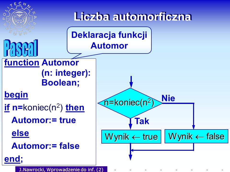 J.Nawrocki, Wprowadzenie do inf. (2) Liczba automorficzna Tak Wynik true Nie Wynik false n=koniec(n 2 ) function Automor (n: integer): Boolean; begin