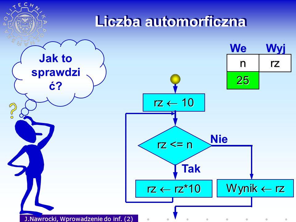 J.Nawrocki, Wprowadzenie do inf. (2) Liczba automorficzna rz 10 rz <= n Tak rz rz*10 Nie Wynik rz Jak to sprawdzi ć? nrz 25 We Wyj