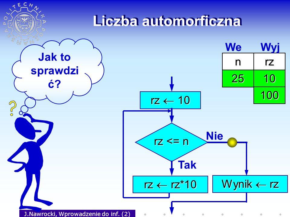J.Nawrocki, Wprowadzenie do inf. (2) Liczba automorficzna rz 10 rz <= n Tak rz rz*10 Nie Wynik rz Jak to sprawdzi ć? nrz 25 We Wyj 10 100