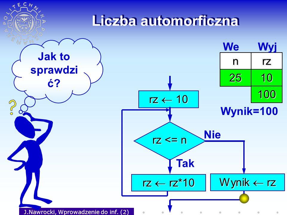 J.Nawrocki, Wprowadzenie do inf. (2) Liczba automorficzna rz 10 rz <= n Tak rz rz*10 Nie Wynik rz Jak to sprawdzi ć? nrz 25 We Wyj 10 100 Wynik=100