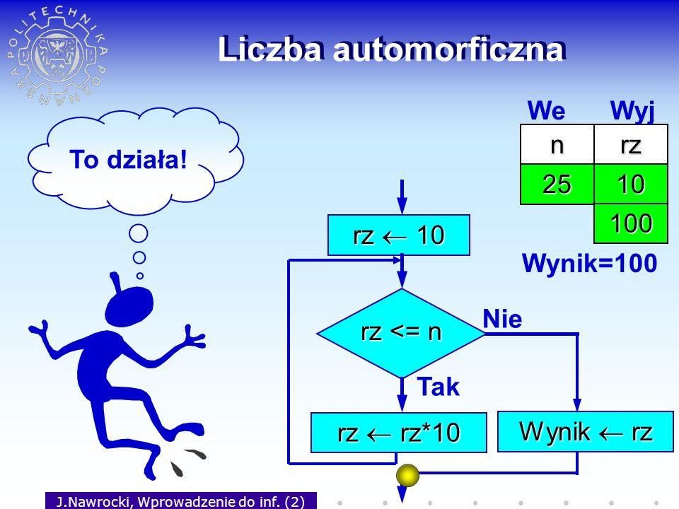 J.Nawrocki, Wprowadzenie do inf. (2) Liczba automorficzna rz 10 rz <= n Tak rz rz*10 Nie Wynik rz nrz 25 We Wyj 10 100 Wynik=100 To działa!