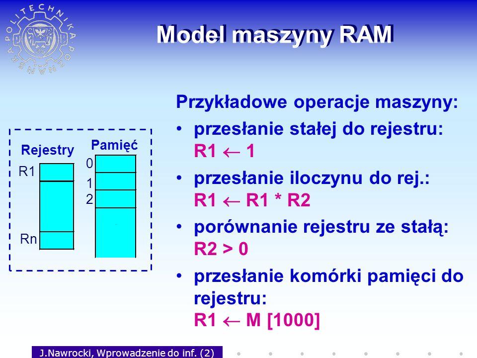 J.Nawrocki, Wprowadzenie do inf. (2) Model maszyny RAM Przykładowe operacje maszyny: przesłanie stałej do rejestru: R1 1 przesłanie iloczynu do rej.: