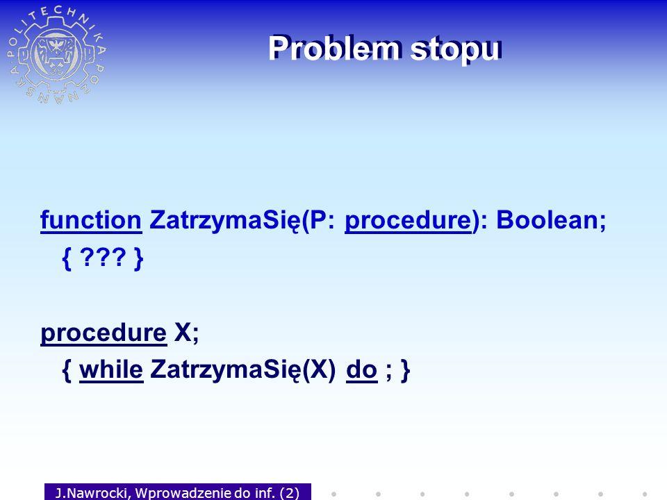 J.Nawrocki, Wprowadzenie do inf. (2) Problem stopu function ZatrzymaSię(P: procedure): Boolean; { ??? } procedure X; { while ZatrzymaSię(X) do ; }