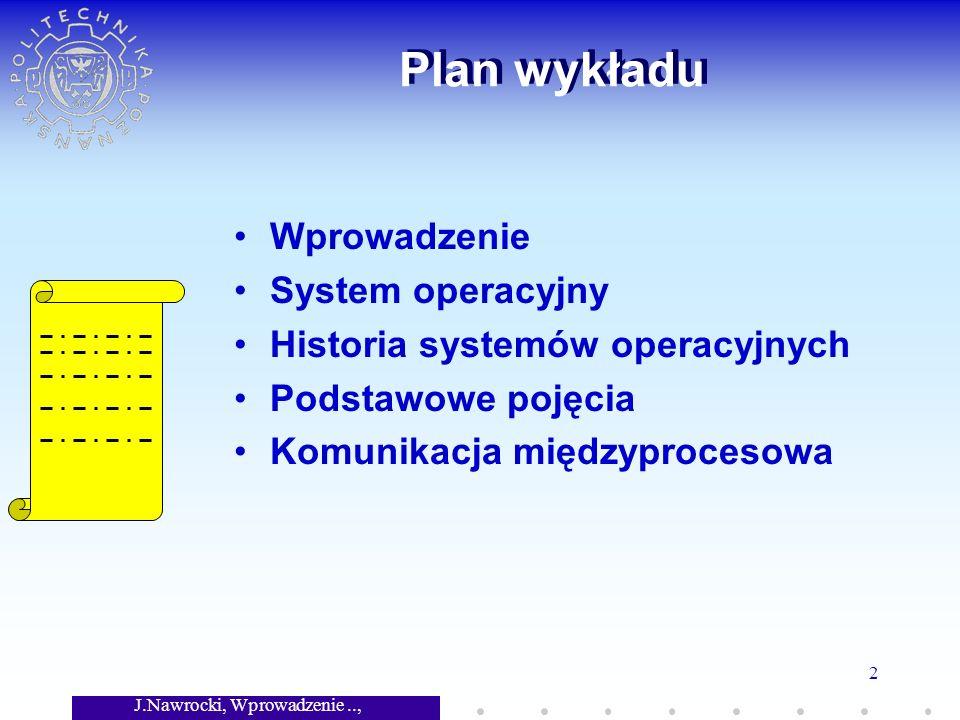 J.Nawrocki, Wprowadzenie.., Wykład 7 2 Plan wykładu Wprowadzenie System operacyjny Historia systemów operacyjnych Podstawowe pojęcia Komunikacja międzyprocesowa