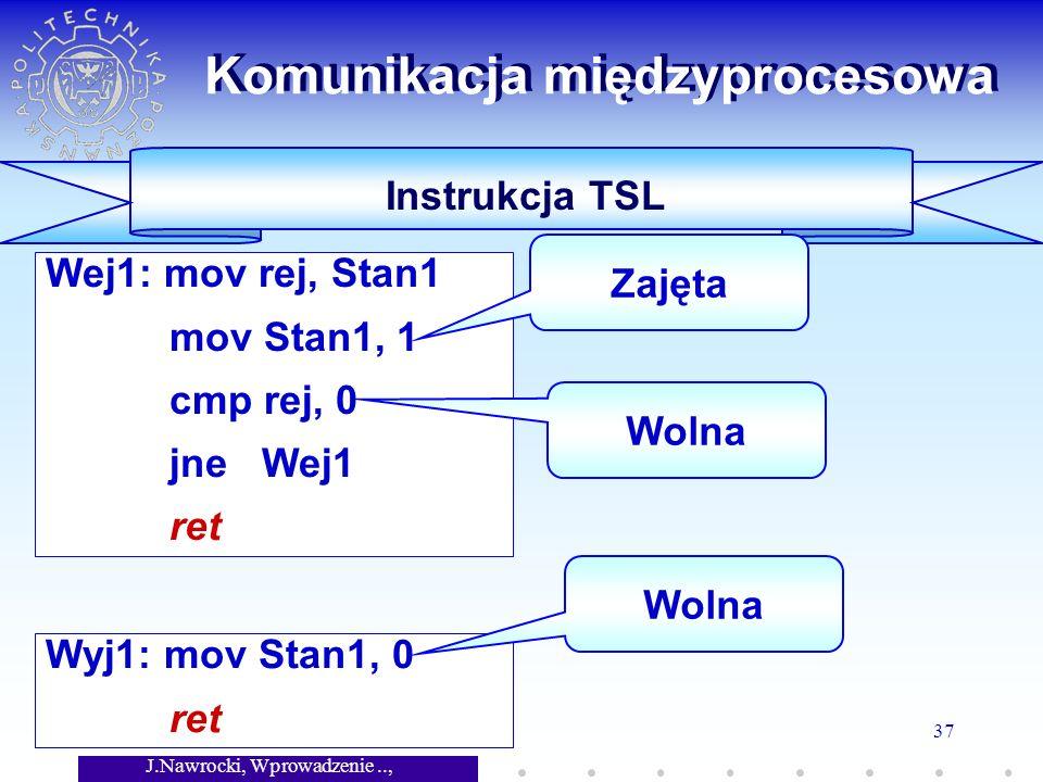 J.Nawrocki, Wprowadzenie.., Wykład 7 37 Wyj1: mov Stan1, 0 ret Wej1: mov rej, Stan1 mov Stan1, 1 cmp rej, 0 jne Wej1 ret Komunikacja międzyprocesowa Instrukcja TSL Zajęta Wolna