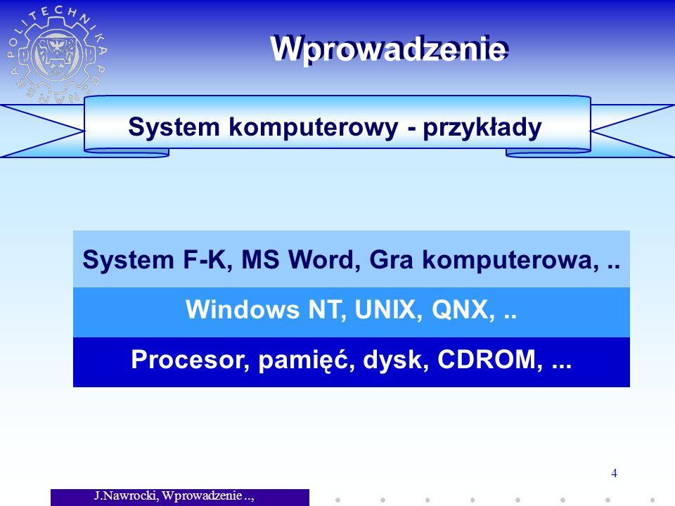 J.Nawrocki, Wprowadzenie.., Wykład 7 4 Sprzęt System operacyjny Oprogramowanie aplikacyjne Wprowadzenie System komputerowy - przykłady Procesor, pamięć, dysk, CDROM,...
