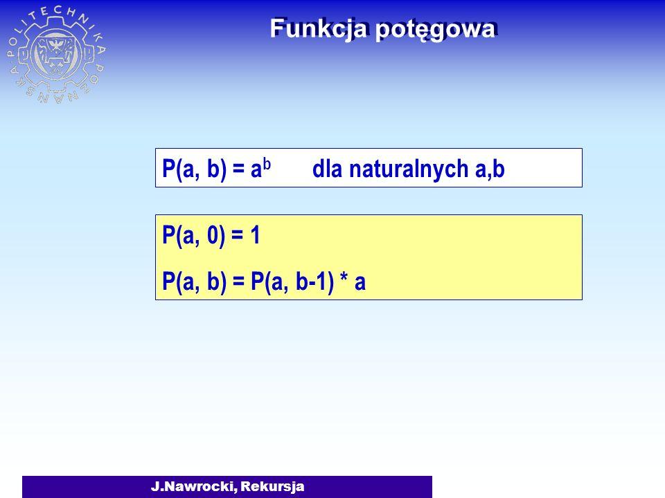 J.Nawrocki, Rekursja Liczba cyfr LCyfr(0) = 1 LCyfr(1) = 1... LCyfr(9) = 1 LCyfr(n) = 1 + LCyfr(n/10)