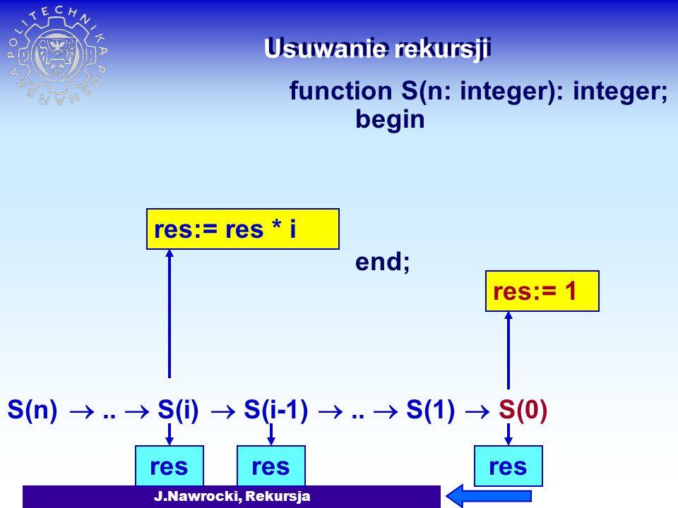 J.Nawrocki, Rekursja Usuwanie rekursji function S(n: integer): integer; begin if n=0 then S:= 1 else S:= S(n-1) * n end; S(n) res S(i) = S(i-1) * iS(i) = res * i res res:= res * iS(0) = 1 res res:= 1..