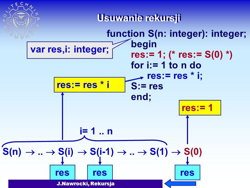 J.Nawrocki, Rekursja Usuwanie rekursji function S(n: integer): integer; begin res:= 1; (* res:= S(0) *) S:= res end; res res:= res * i res res:= 1 S(n