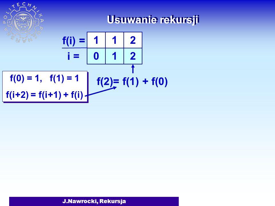 J.Nawrocki, Rekursja Usuwanie rekursji f(0) = 1, f(1) = 1 f(i+2) = f(i+1) + f(i) f(0) = 1, f(1) = 1 f(i+2) = f(i+1) + f(i) 1 0 1 1 f(i) = i =