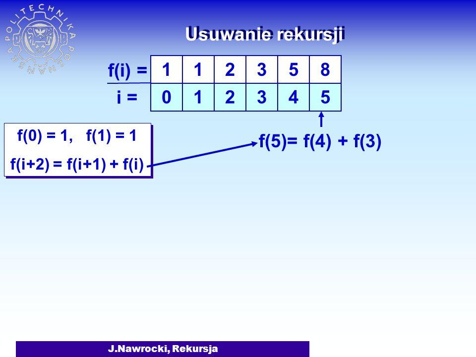 J.Nawrocki, Rekursja Usuwanie rekursji f(0) = 1, f(1) = 1 f(i+2) = f(i+1) + f(i) f(0) = 1, f(1) = 1 f(i+2) = f(i+1) + f(i) 1 0 1 1 f(i) = i = 2 2 3 3 5 4 f(4)= f(3) + f(2)