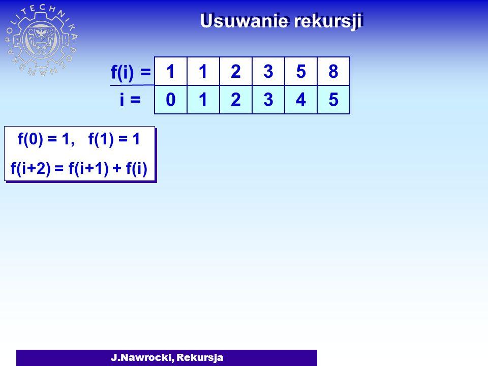 J.Nawrocki, Rekursja Usuwanie rekursji f(0) = 1, f(1) = 1 f(i+2) = f(i+1) + f(i) f(0) = 1, f(1) = 1 f(i+2) = f(i+1) + f(i) 1 0 1 1 f(i) = i = 2 2 3 3