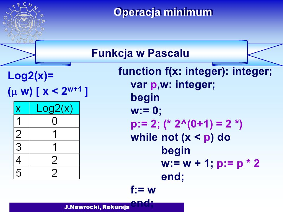 J.Nawrocki, Rekursja Operacja minimum Log2(x)= ( w) [ x < 2 w+1 ] Funkcja w Pascalu function f(x: integer): integer; var w: integer; begin w:= 0; while not (x < P(2, w+1)) do w:= w + 1; f:= w end;