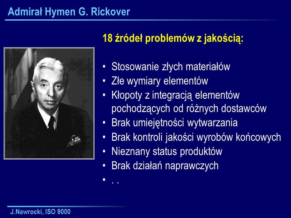 J.Nawrocki, ISO 9000 Admirał Hymen G. Rickover 18 źródeł problemów z jakością: Stosowanie złych materiałów Złe wymiary elementów Kłopoty z integracją