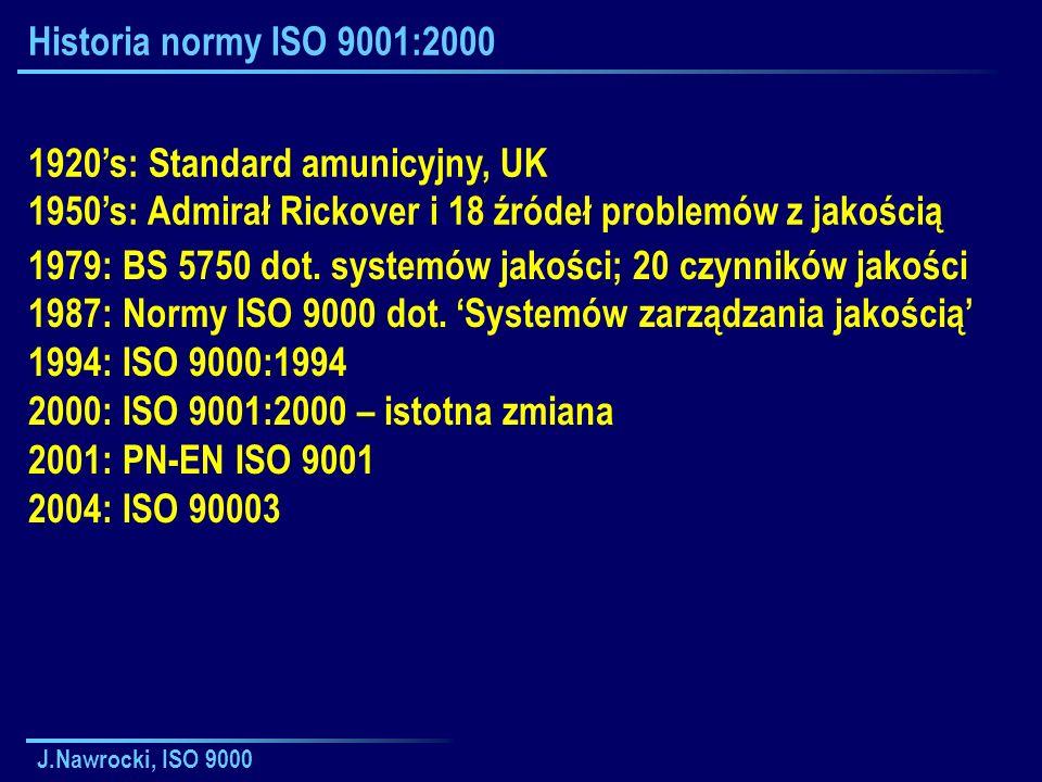 J.Nawrocki, ISO 9000 Historia normy ISO 9001:2000 1979: BS 5750 dot. systemów jakości; 20 czynników jakości 1987: Normy ISO 9000 dot. Systemów zarządz