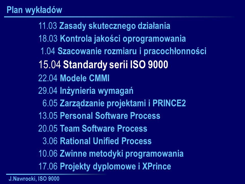 J.Nawrocki, ISO 9000 Plan wykładów 11.03 Zasady skutecznego działania 18.03 Kontrola jakości oprogramowania 1.04 Szacowanie rozmiaru i pracochłonności