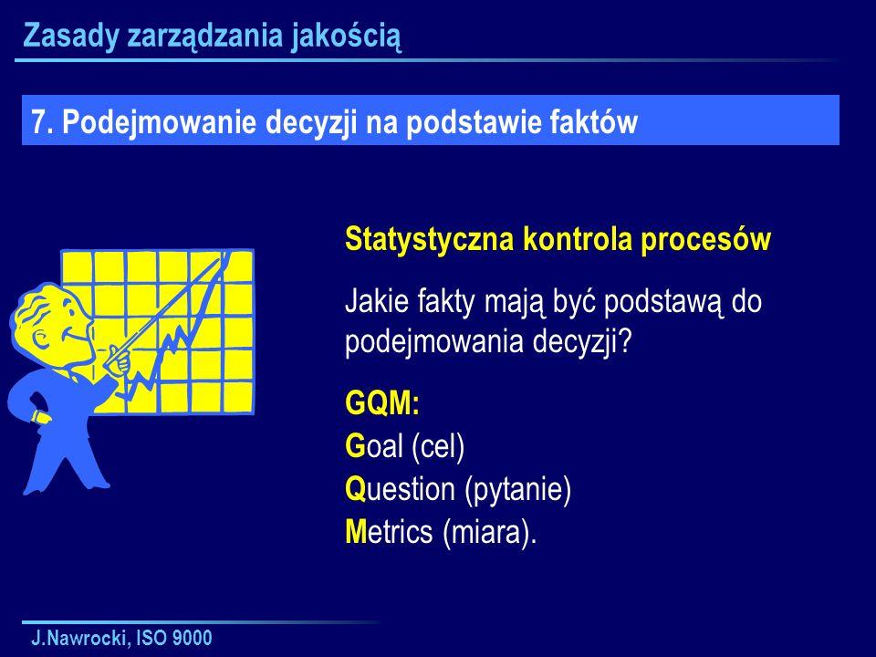 J.Nawrocki, ISO 9000 Zasady zarządzania jakością 7. Podejmowanie decyzji na podstawie faktów Statystyczna kontrola procesów Jakie fakty mają być podst